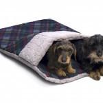Slaapzak voor hond of poes Beige/ Donkerblauw Karo