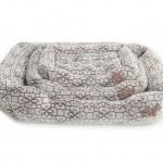 Mand in welness fleece licht grijs/ print bruin
